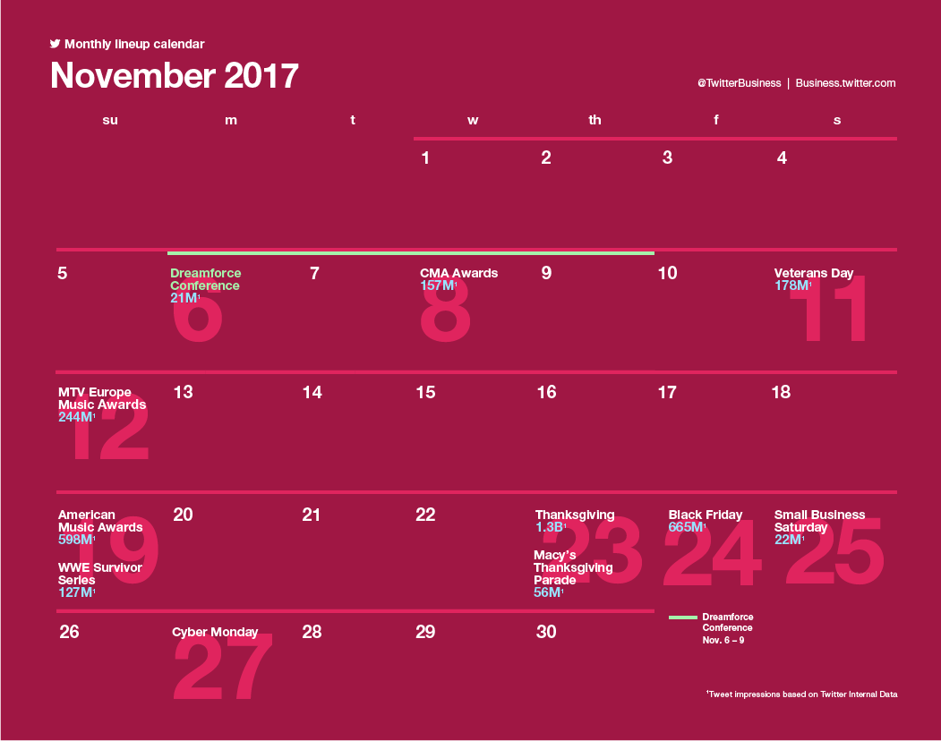 Twitter Releases Major Events Calendar for November to Help with Strategic Planning | Social Media Today