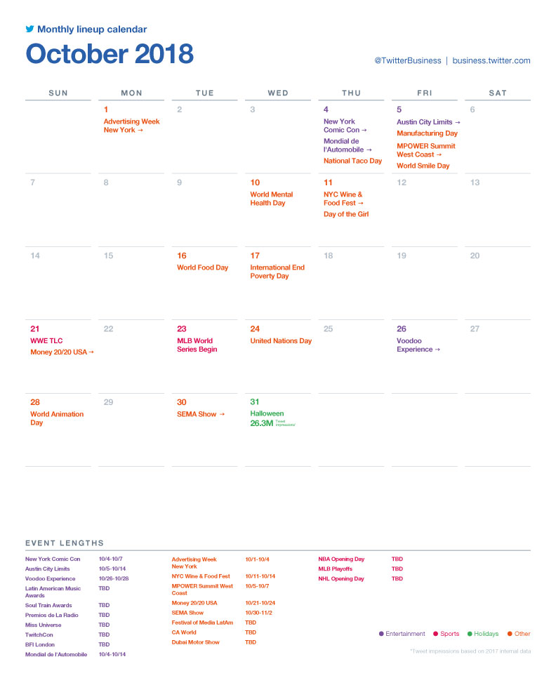 Twitter major events calendar for October 2018