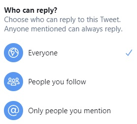 Twitter reply controls