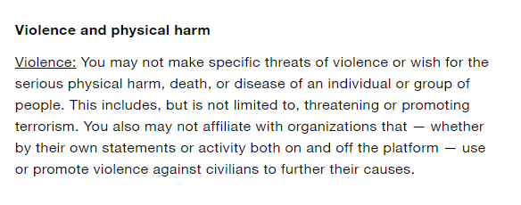 Twitter rules on threatening violence
