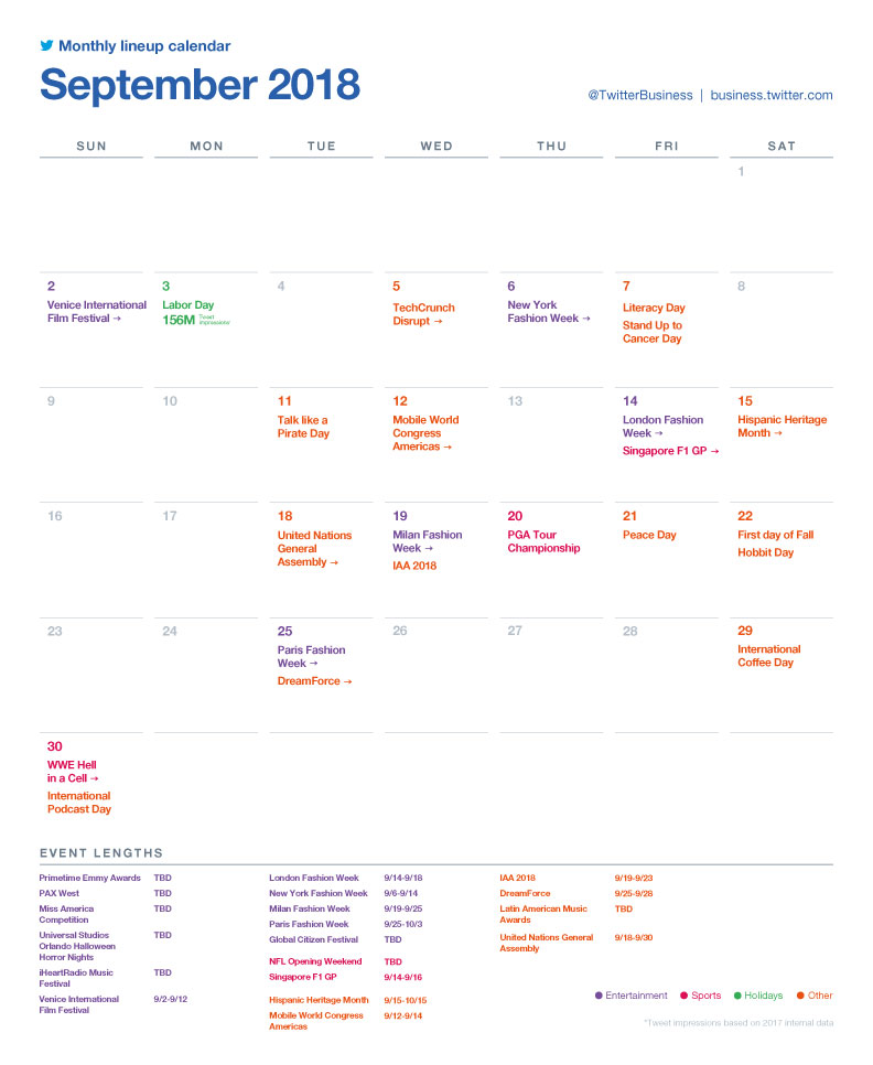 Twitter's major events calendar for September 2018