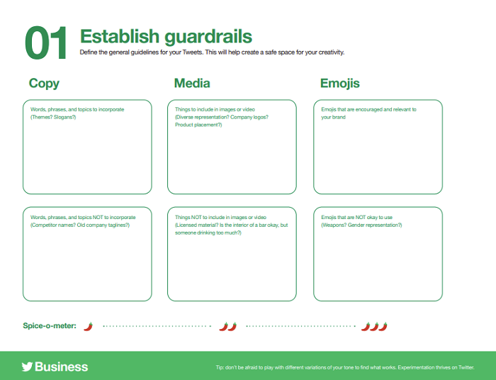 Twitter guide sheets