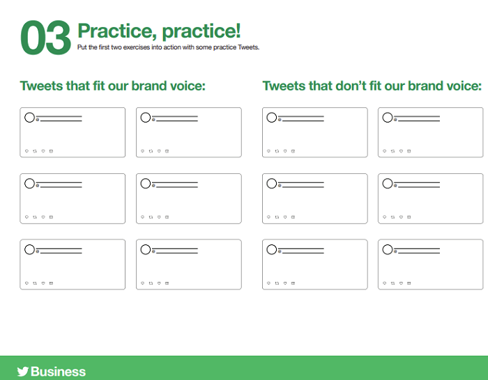 Twitter brand worksheets