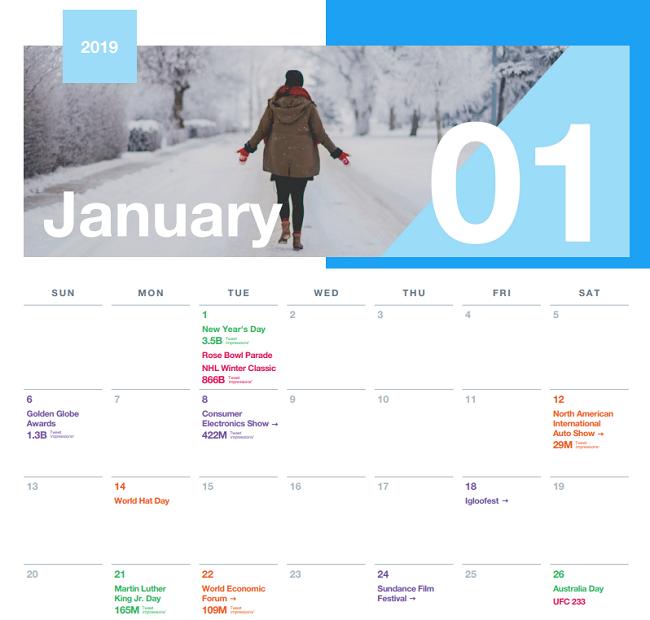 Twitter 2019 calendar