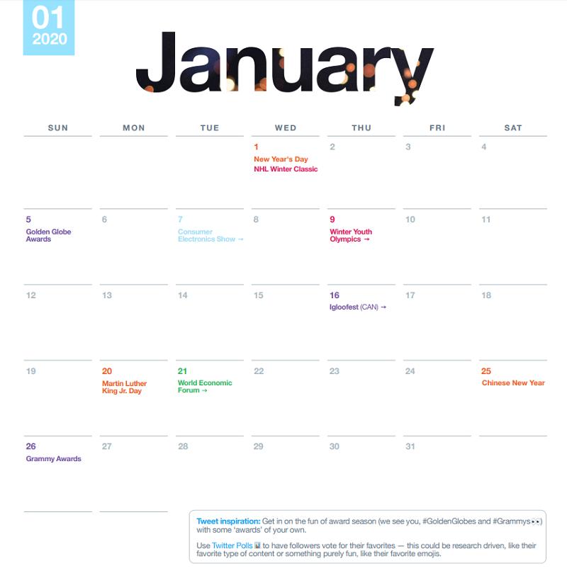 Twitter 2020 calendar