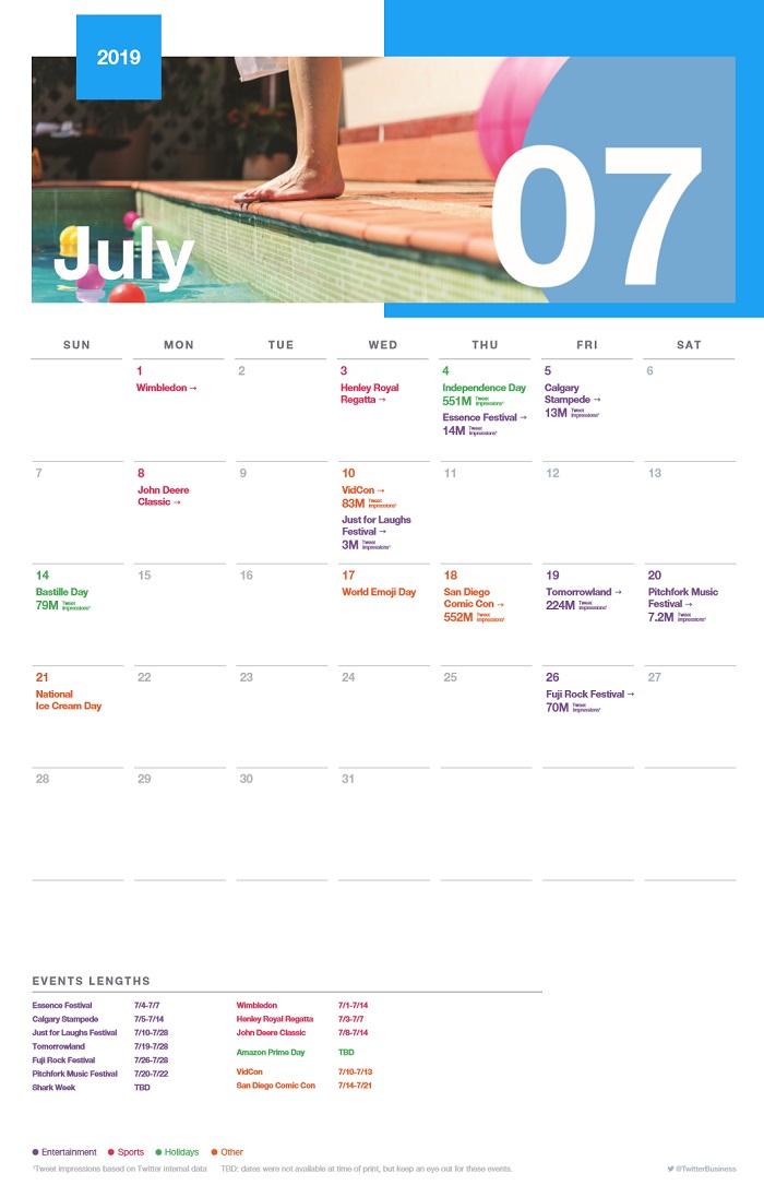 Twitter events calendar July 2019