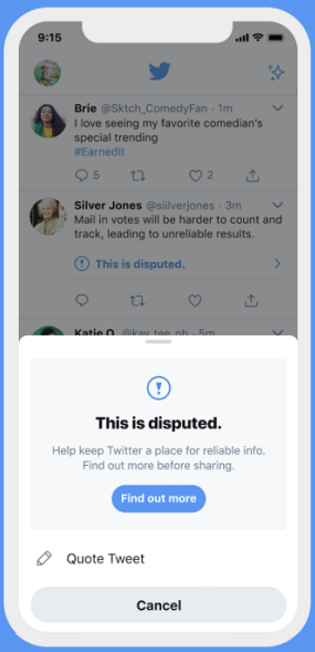 Подсказка Twitter, вводящая в заблуждение