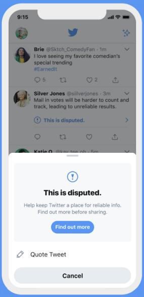 Twitter misleading info prompt