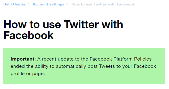 Twitter help center page on connecting to Facebook