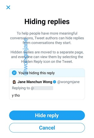 Twitter hide replies