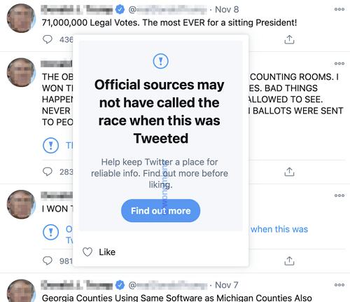 Twitter like pop-up test