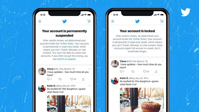 Twitter account suspension notification
