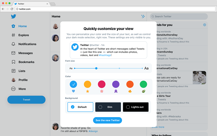 Twitter personalization settings