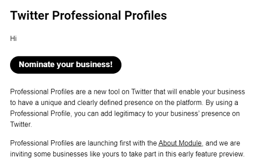 Twitter Professional Profile Email