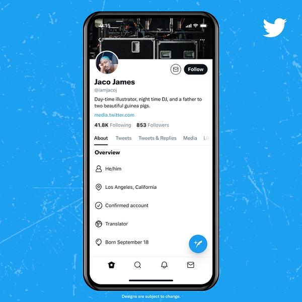 Twitter profile update
