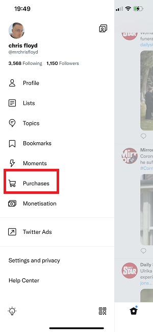 Twitter 'Purchases' tab