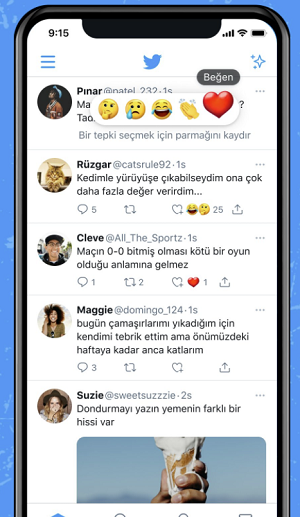 Tweet reactions example