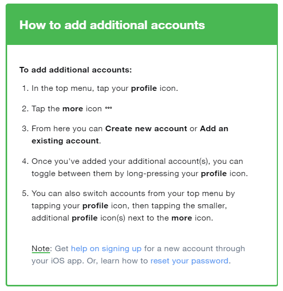 Twitter instructions on how to add another account