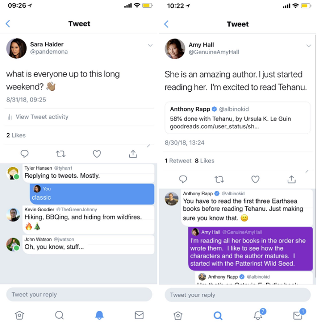 Twitter threaded replies mock-ups