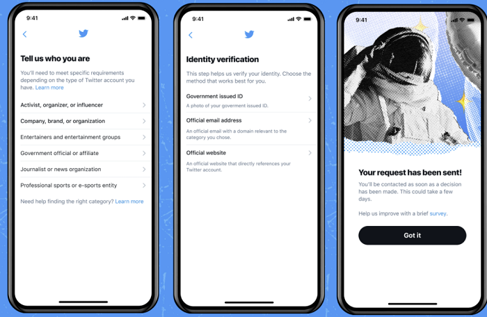 Twitter verification process