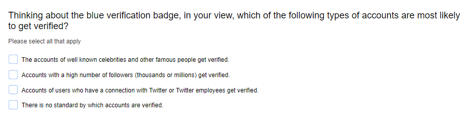 Twitter verification survey