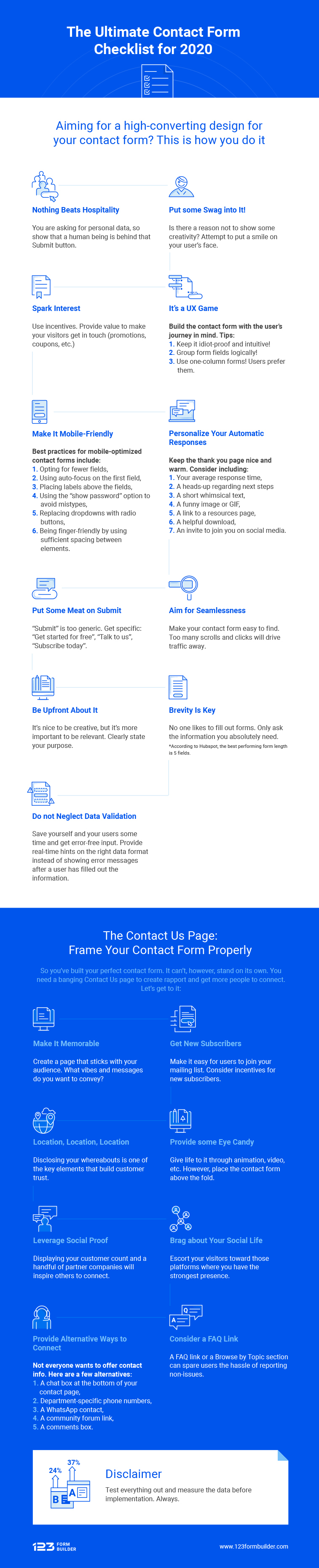 Infographic lists contact page tips and notes