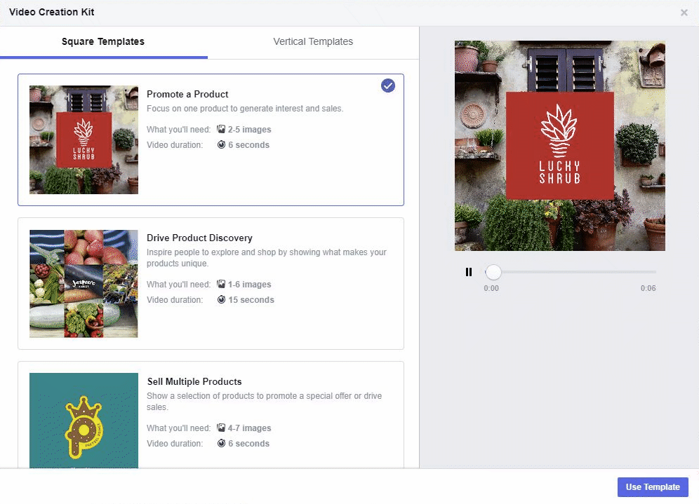 GIF example of Facebook's new video creation tools