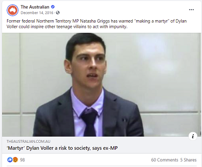 Facebook post from The Australian