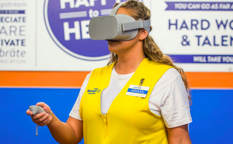 A Walmart employee using the Oculus training program