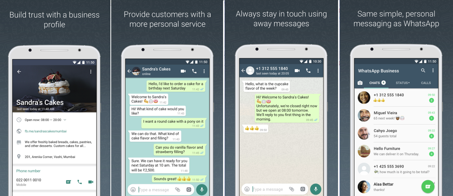 WhatsApp Business screenshots