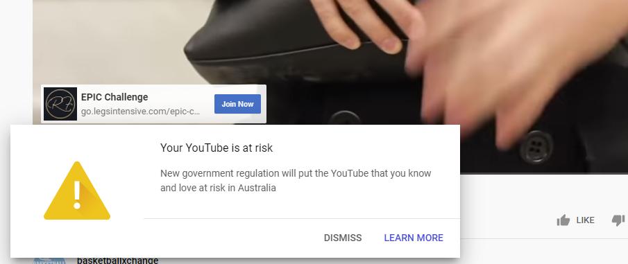 YouTube at Risk warning