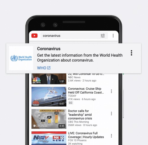 YouTube coronavirus information panel