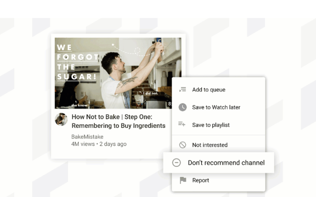 YouTube 'don't recommend' option