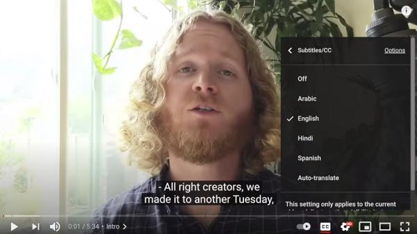 YouTube caption translation