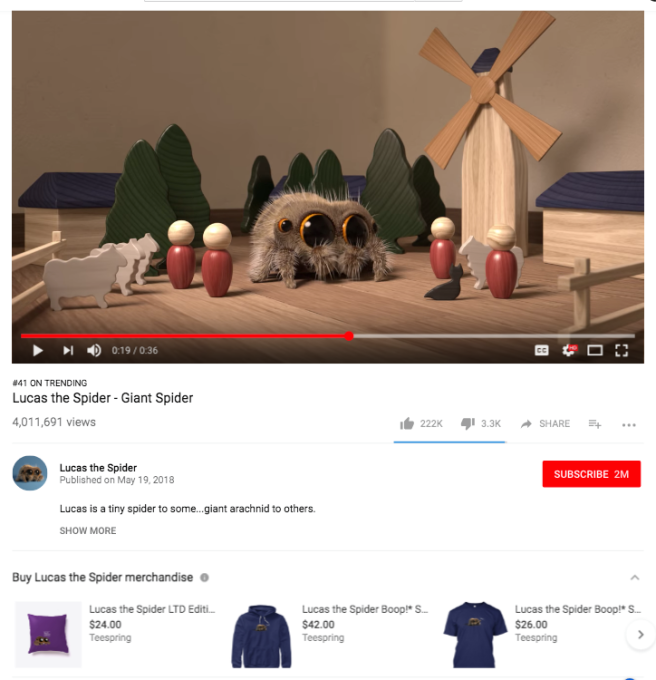 An example of YouTube's merchandise 'shelf' on videos