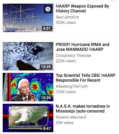 A list of YouTube recommendations for conspiracy theory videos