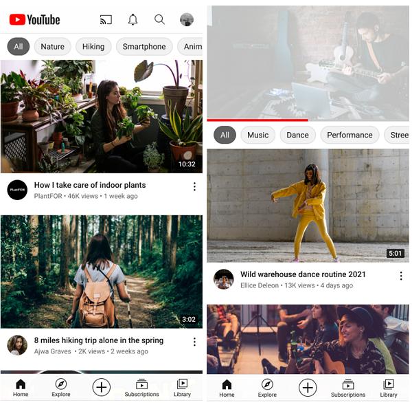 Surfaces de recommandations YouTube