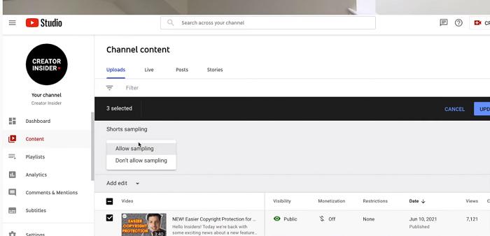 Управление короткометражками на YouTube