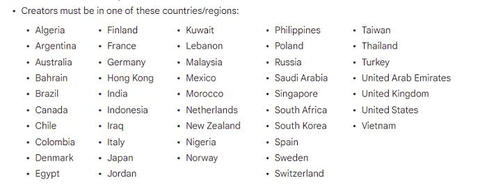 YouTube Shorts Fund regions