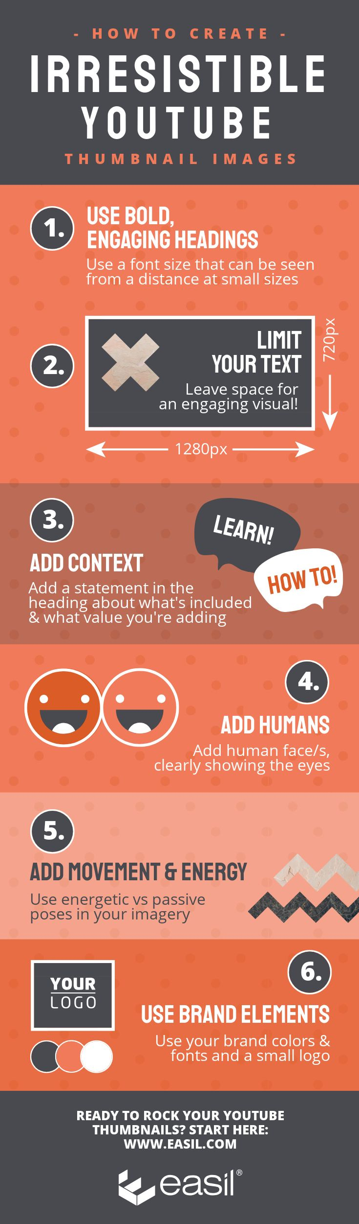 Infographic lists tips for effective YouTube thumbnails