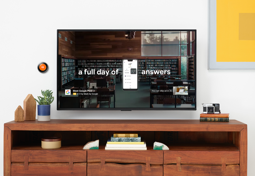 A YouTube ad on a TV screen