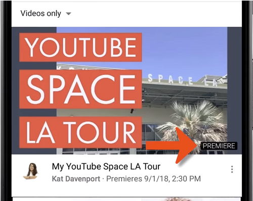 YouTube Premiere example