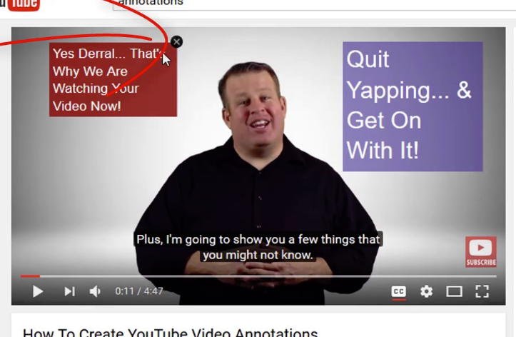 YouTube video annotations